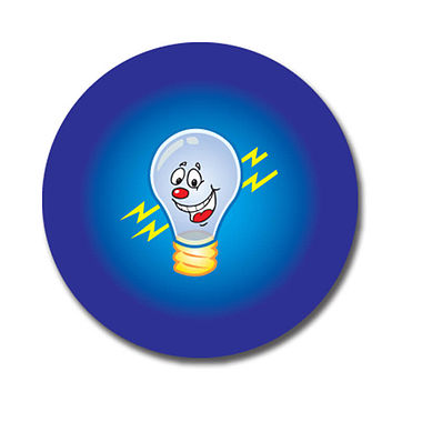Personalised Light Bulb Stickers (70 per sheet - 25mm)