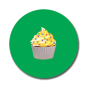 Personalised Cupcake Stickers - Green (70 per sheet - 25mm)