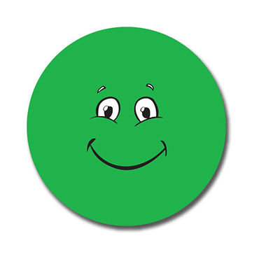 Personalised Green Face Stickers (70 per sheet - 25mm)