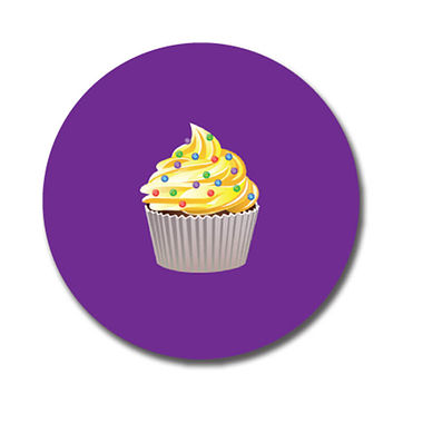 Personalised Cupcake Stickers - Purple (70 per sheet - 25mm)