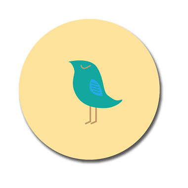 Personalised Teal Bird Stickers (70 per sheet - 25mm)