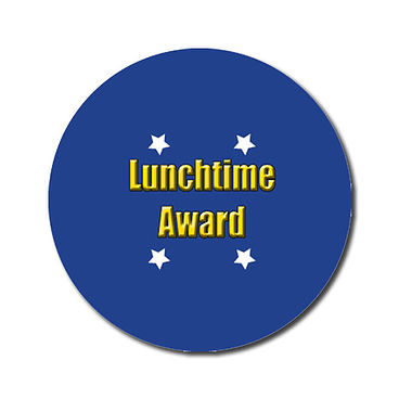 Personalised Lunchtime Award Stickers - Blue (70 per sheet - 25mm)