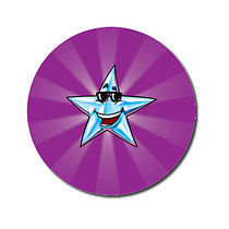 Sheet of 70 Personalised Purple Star 25mm Stickers