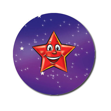 Personalised Red Star Stickers (70 per sheet - 25mm)