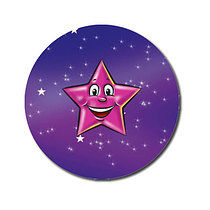 Sheet of 70 Personalised Pink Star 25mm Stickers