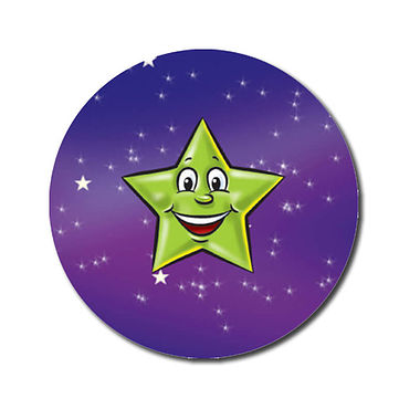 Personalised Green Star Stickers (70 per sheet - 25mm)