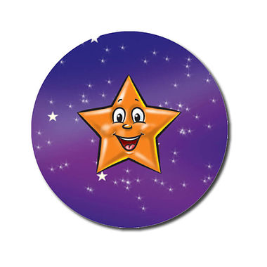 Personalised Orange Star Stickers (70 per sheet - 25mm)