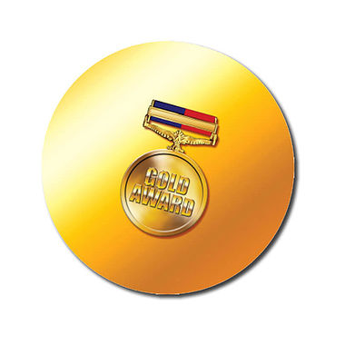 Personalised Gold Award Stickers - Medal (70 per sheet - 25mm)