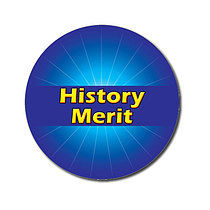 Sheet of 70 Customised Blue History Merit 25mm Stickers