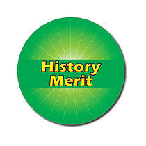Sheet of 70 Customised Green History Merit 25mm Stickers