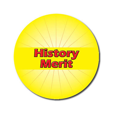 Personalised History Merit Stickers - Yellow (70 per sheet - 25mm)