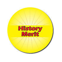 Sheet of 70 Customised Yellow History Merit 25mm Stickers