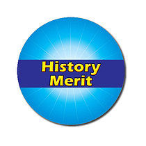 Sheet of 70 Customised 25mm Cyan History Merit Stickers