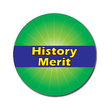 Personalised History Merit Stickers - Green (70 per sheet - 25mm)