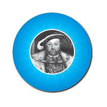 Personalised Henry VIII 25mm Cyan Stickers x 70