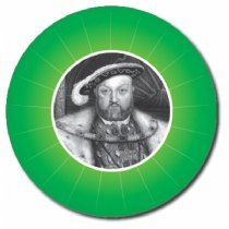 Personalised Henry VIII 25mm Green Stickers x 70