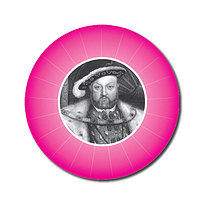 Personalised Henry VIII 25mm Pink Stickers x 70