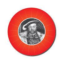 Personalised Henry VIII 25mm Red Stickers x 70