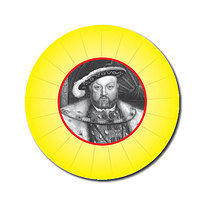 Personalised Henry VIII 25mm Yellow Stickers x 70