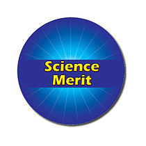 Sheet of 70 Customised Blue Science Merit 25mm Stickers