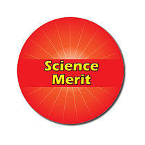 Sheet of 70 Customised Red Science Merit 25mm Stickers