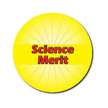 Sheet of 70 Customised Yellow Science Merit 25mm Stickers