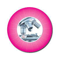 Sheet of 70 Customised Pink Microscope 25mm Stickers