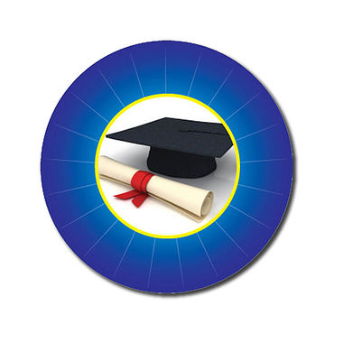 Personalised Graduation Stickers - Blue (70 per sheet - 25mm)