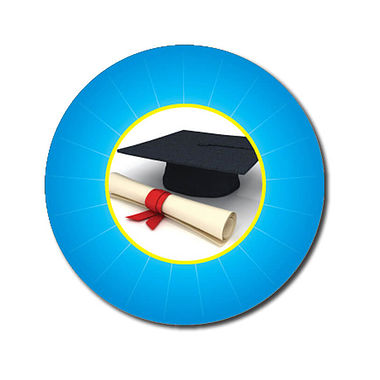Personalised Graduation Stickers - Cyan (70 per sheet - 25mm)