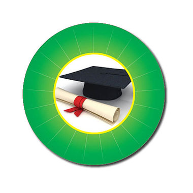 Personalised Graduation Stickers - Green (70 per sheet - 25mm)