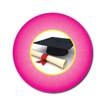 Personalised Graduation Stickers - Pink (70 per sheet - 25mm)