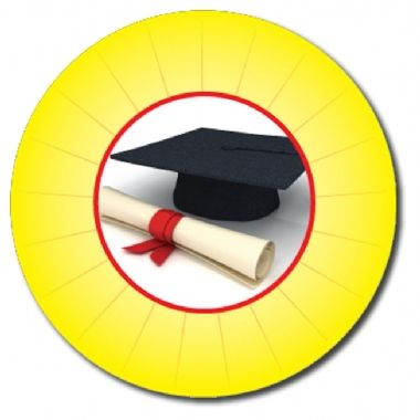Personalised Graduation Stickers - Yellow (70 per sheet - 25mm)