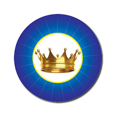 Customised Crown Stickers - Blue (70 per sheet - 25mm)