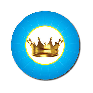Customised Crown Stickers - Cyan (70 per sheet - 25mm)