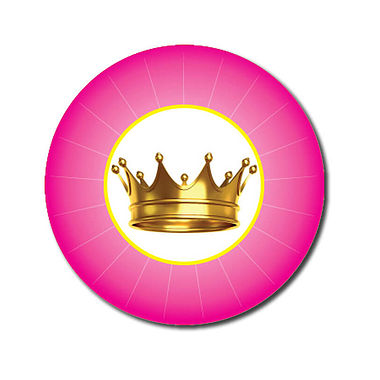 Customised Crown Stickers - Pink (70 per sheet - 25mm)