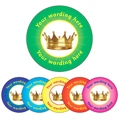 Customised Crown Stickers (70 per sheet - 25mm)