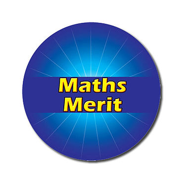 Personalised Maths Merit Stickers - Blue (70 per sheet - 25mm)