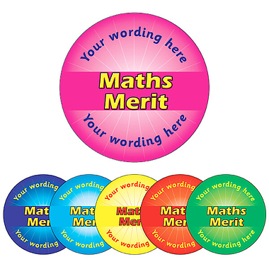 Personalised Maths Merit Stickers (70 per sheet - 25mm)
