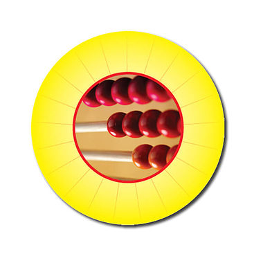 Personalised Abacus Stickers - Yellow (70 per sheet - 25mm)