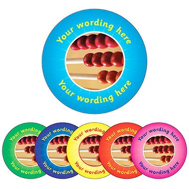Personalised Abacus Stickers (70 per sheet - 25mm)
