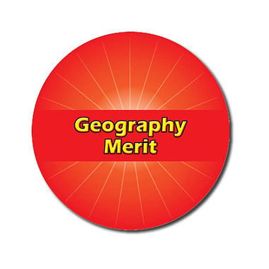 Customised Geography Merit Stickers - Red (70 per sheet - 25mm)