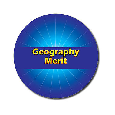 Personalised Geography Merit Stickers - Blue (70 per sheet - 25mm)