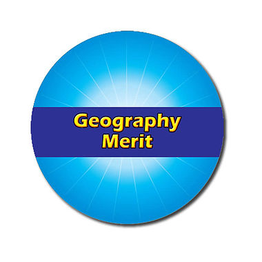 Personalised Geography Merit Stickers - Cyan (70 per sheet - 25mm)