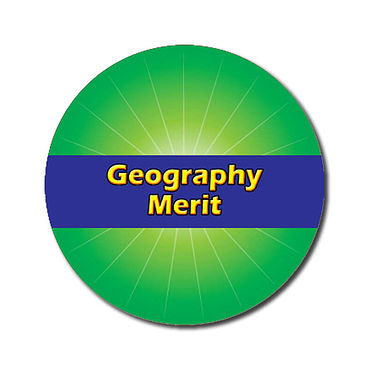Personalised Geography Merit Stickers - Green (70 per sheet - 25mm)
