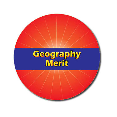 Personalised Geography Merit Stickers - Red (70 per sheet - 25mm)