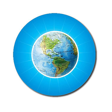 Personalised Globe Stickers - Cyan (70 per sheet - 25mm)