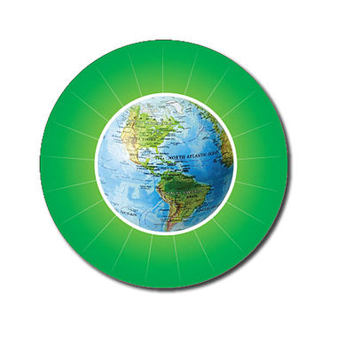 Personalised Globe Stickers - Green (70 per sheet - 25mm)