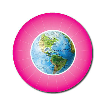 Personalised Globe Stickers - Pink (70 per sheet - 25mm)