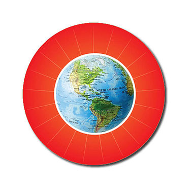 Personalised Globe Stickers - Red (70 per sheet - 25mm)
