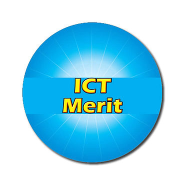 Personalised ICT Merit Stickers - Cyan (70 per sheet - 25mm)